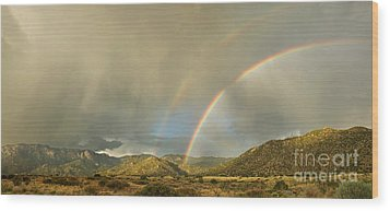 Land Of Enchantment - Rainbow Over Sandia Mountains Wood Print by Matt Tilghman
