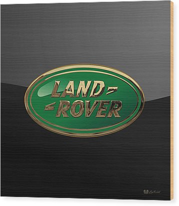Land Rover - 3d Badge On Black Wood Print