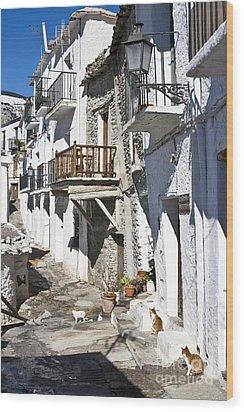 Wood Print featuring the photograph Street In Capileira Puebla Blanca by Heiko Koehrer-Wagner