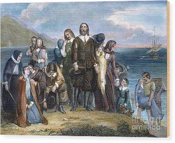 Landing Of Pilgrims, 1620 Wood Print by Granger