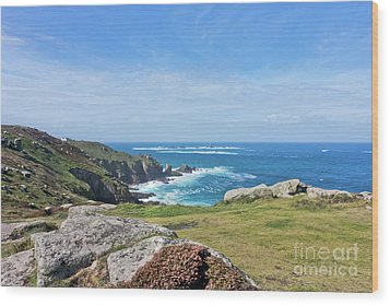 Land's End And Longships Lighthouse Cornwall Wood Print by Terri Waters