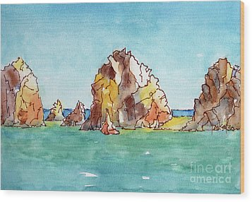 Wood Print featuring the painting Lands End Cabo San Lucas Mexico by Pat Katz