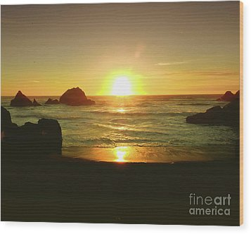 Lands End Sunset-the Golden Hour Wood Print