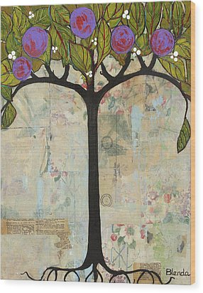 Landscape Art Tree Painting Past Visions Wood Print by Blenda Studio