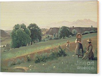 Landscape At Mornex Wood Print by Jean Baptiste Corot