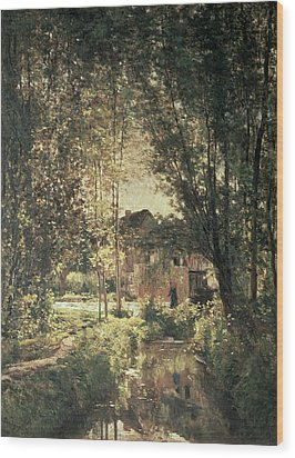 Landscape Wood Print by Charles Francois Daubigny