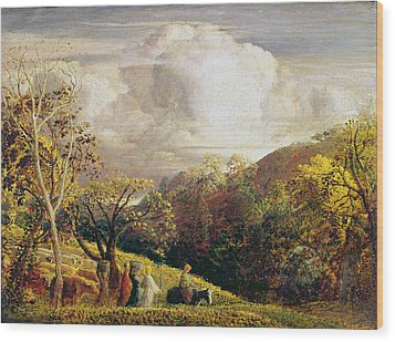 Landscape Figures And Cattle Wood Print by Samuel Palmer