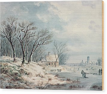 Landscape In Winter Wood Print by JJ Verreyt