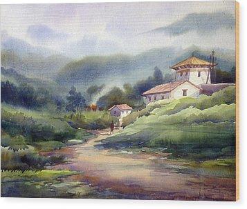 Wood Print featuring the painting Landscape Of Bhutan by Samiran Sarkar