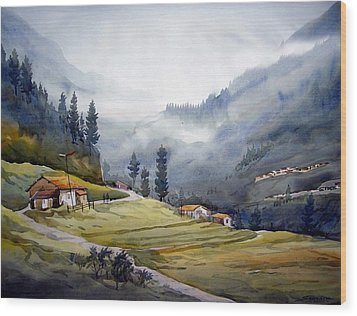 Wood Print featuring the painting Landscape Of Himalayan Mountain by Samiran Sarkar