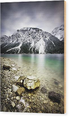 Landscape Of Plansee Lake And Alps Mountains During Winter, Snowy View, Tyrol, Austria. Wood Print