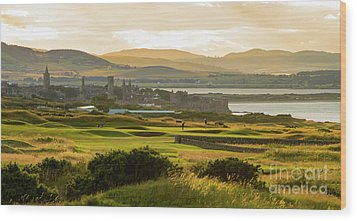 Landscape Of St Andrews Home Of Golf Wood Print by MaryJane Armstrong