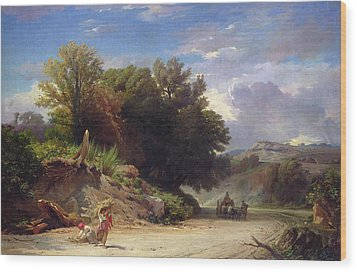 Landscape On The Outskirts Of Rome Wood Print by Jean Achille Benouville