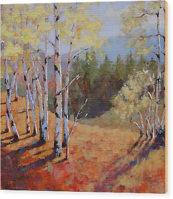 Wood Print featuring the painting Landscape Series 1 by Laura Lee Zanghetti