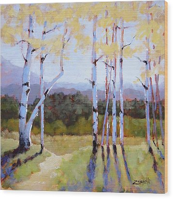 Wood Print featuring the painting Landscape Series 2 by Laura Lee Zanghetti