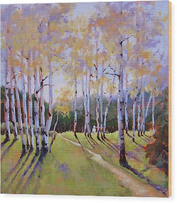 Wood Print featuring the painting Landscape Series 3 by Laura Lee Zanghetti