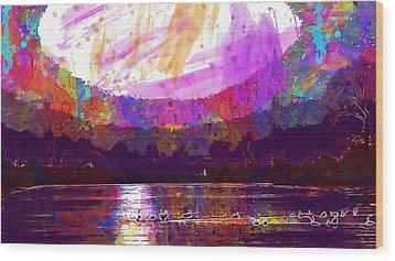 Wood Print featuring the digital art Landscape Winter Fog Sunrise Birds  by PixBreak Art