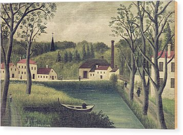 Landscape With A Fisherman Wood Print by Henri Rousseau