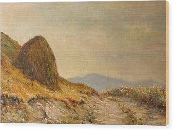 Landscape With A Hayrick Wood Print by Tigran Ghulyan