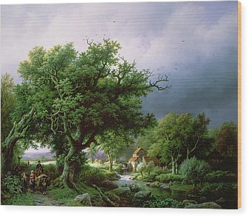 Landscape With A Mill Wood Print by Barend Cornelis Koekkoek