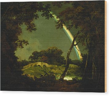 Landscape With A Rainbow Wood Print by Joseph Wright of Derby