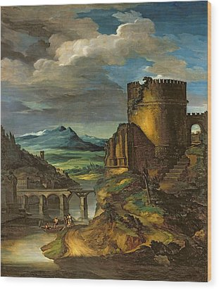 Landscape With A Tomb  Wood Print by Theodore Gericault