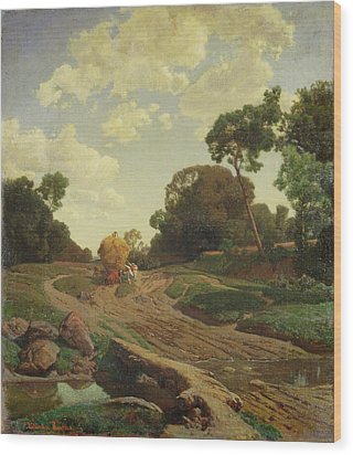Landscape With Haywagon Wood Print by Valentin Ruths