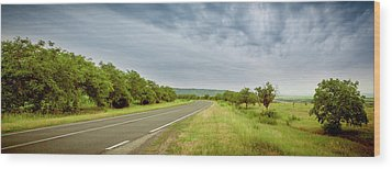 Landscape With Highway And Cloudy Sky Wood Print