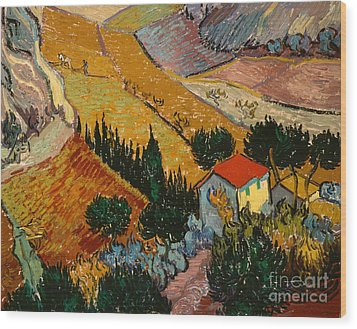 Landscape With House And Ploughman Wood Print by Vincent Van Gogh