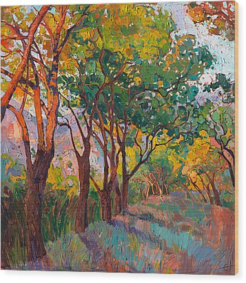 Lane Of Oaks Wood Print by Erin Hanson