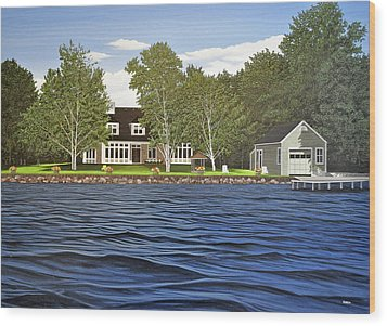 Wood Print featuring the painting Langer Summer Home Lake Simcoe by Kenneth M Kirsch