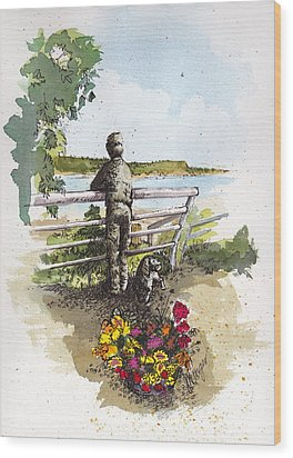 Langley Boy And Dog Wood Print by Judi Nyerges