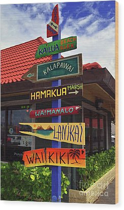 Lanikai Kailua Waikiki Beach Signs Wood Print