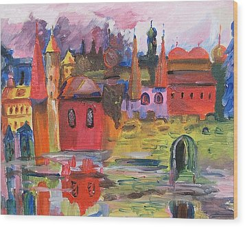 Lanscape With Red Houses Wood Print