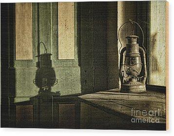 Lantern Shadow Wood Print by Sari Sauls
