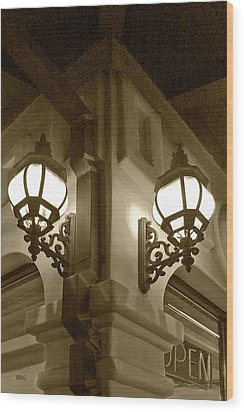 Lanterns - Night In The City - In Sepia Wood Print by Ben and Raisa Gertsberg