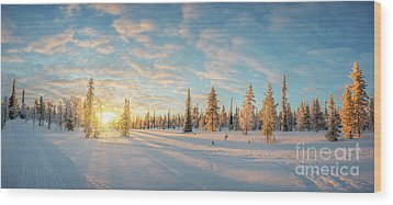Wood Print featuring the photograph Lapland Panorama by Delphimages Photo Creations
