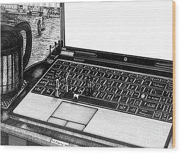 Wood Print featuring the painting Laptop by Richie Montgomery
