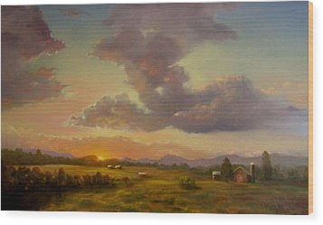 Larch Hill Sunset Wood Print by Kevin Palfreyman