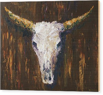 Large Cow Skull Acrylic Palette Knife Painting Wood Print