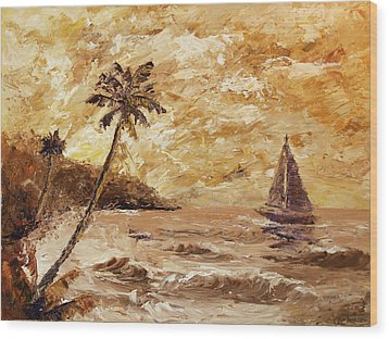 Large Sailboat On The Hawaiian Coast Oil Painting  Wood Print by Mark Webster