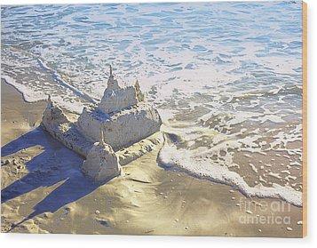 Large Sandcastle On The Beach Wood Print by Skip Nall
