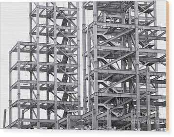 Wood Print featuring the photograph Large Scale Construction Project With Steel Girders by Yali Shi