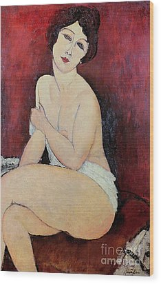 Large Seated Nude Wood Print by Amedeo Modigliani