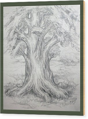 Large Shady Tree Wood Print by Ruth Renshaw