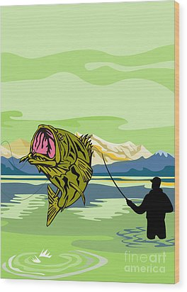 Largemouth Bass Fish Jumping Wood Print by Aloysius Patrimonio