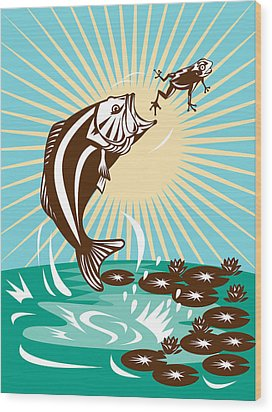 Largemouth Bass Jumping Catching Frog  Wood Print by Aloysius Patrimonio