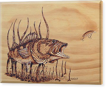 Wood Print featuring the pyrography Largemouth Bass by Ron Haist