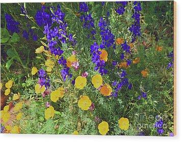 Larkspur And Primrose Garden Wood Print