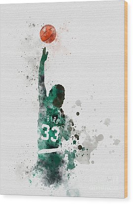 Larry Bird Wood Print by Rebecca Jenkins